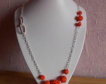 Long trendy orange flowers wedding necklace