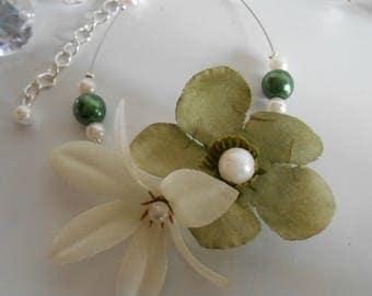 Pair of beaded flowers, green and white wedding bracelet