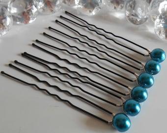 Lot 6 wedding hair pins, beads blue Peacock