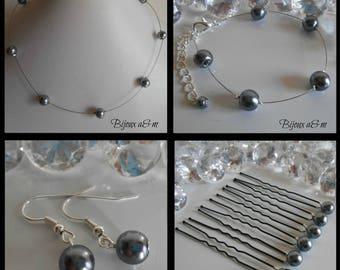 Set of 4 wedding pieces simplicity beads anthracite grey