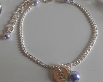 Lavender personalized silver initial bracelet
