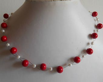 Bridal twist of passion red and white beads