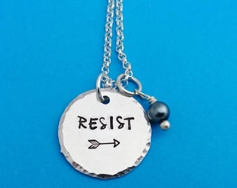 resist necklace, resist necklace, feminist necklace, feminist jewelry, political activist gift, protest jewelry, feminist, protester gift
