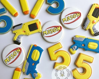 Nerf Gun Birthday Cookies
