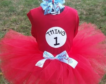 Thing 1 Tutu,Thing 1 or Thing 2 Inspired, Thing 1 or Thing 2 Shirts, sizes 6 Month - 4T