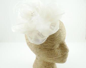 Ivory Bridal Hairpiece, Bridal Fascinator, Bridal Hair Clip, Wedding Hair Pin, Flower Wedding Headpiece, Bridal Flower with French Netting