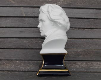 Limoges porcelain bust of Beethoven - Beethoven statue in biscuit Camille Tharaud of Limoges - gift for musician