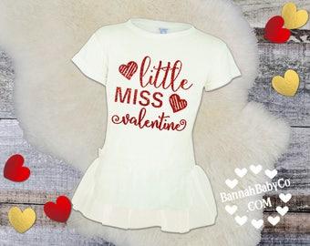 Girls Valentines Day Shirt, Valentines Day Tshirt For Girls, Red and White Sparkly Tutu Shirt, Little Miss Valentine, 2T 4T 5/6T