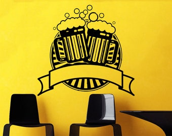 beer Wall decal, Beer sticker, mugs of beer decal, mugs of beer decal sticker,Bar wall decal, bar wall sticker,pub decal, pub sticker kau18