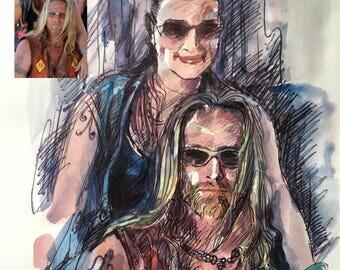 Custom Watercolor Portrait, Watercolour Custom Painting, Personalized Portrait, Couple's Portrait, Couple Painting