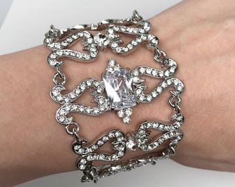 Jessica Clear Crystal Competition Bracelet for IFBB, NPC Bikini Fitness Bodybuilding Contests, Bridal, Wedding, Prom, Military Holiday Ball
