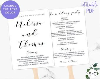 Calligraphy Wedding Program Fan Template | Wedding Program Fan | Program Template | Printable | DIY Wedding Program Fan