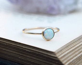 Yellow Gold Opal Ring - Yellow Gold Filled Stacking Ring - Multicolour Fire Opal - Alternative Engagement - October Birthstone