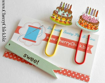 Birthday Cake Planner Clip - Journal  Clip - Planner Clip - Paper Clip - Planner Accessory - Bookmark - Page Marker - Paperclips - Cake clip