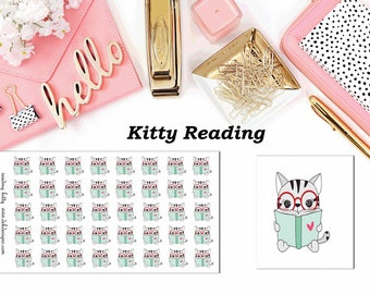 Kitty Reading//Planner Character Stickers//EC//HP