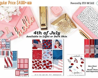 40% Off Sale 4th of July, 6 sheet weekly kit//EC//Hp classic, large mini