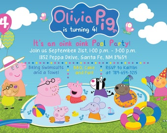 Custom PEPPA PIG & Friends Pool Party, Pool Bash Birthday Invitation! Digital File, Print at Home.