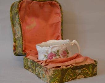 Antique Victorian Lady's Shaving Cup In Original Fitted Box