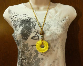 Upcycled ring necklace ', adjustable fashionable crew neck dressed crochet of upcycling, recycled plastic bags