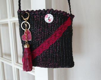 Black/Burgundy, crocheted shoulder bag, lace, tassel, heart keychain. Upcycling