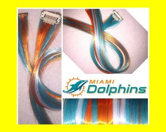 "MIAMI DOLPHINS 18"" Clip-In Hair Extension Set - 4 PIECES!"