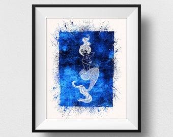 Mermaid Wall Art, Mermaid Print, Mermaid Poster, Siren Print, Siren Painting, Watercolor Mermaid, Sea Spirituality (N555)