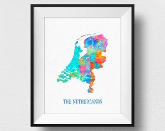 The Netherlands Map Print, Netherlands Poster, Watercolour Netherlands Map Wall Art, Dutch Wall Art, Holland Home Decor (709)
