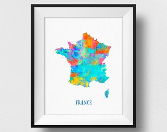 France Map Wall Art, French Map Print, Map Of France Poster, Watercolour France Map Print, France Kids Room, French Home Decor (713)