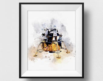 Apollo Lunar Module Print, NASA Poster, Space Age Poster, Watercolour Kids Room Decor, Nursery Wall Art Prints, Nasa Glicee (N305)