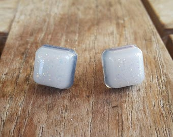 Blue and white square earrings