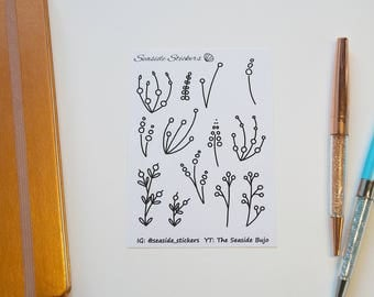simple floral doodles || bullet journal stickers