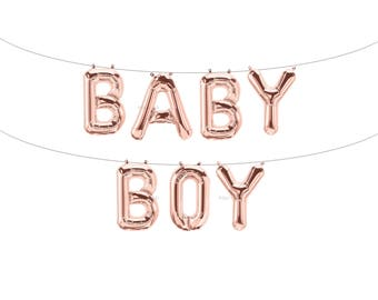 BABY BOY Rose Gold Letter Balloons | Metallic Letter Balloons | Rose Gold Party Decorations