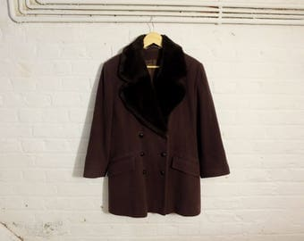 1970s style vintage brown faux fur double breasted coat - Large Size - Boho Bohemian Seventies