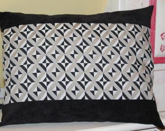Black velvet and geometric pillow cover beige grey