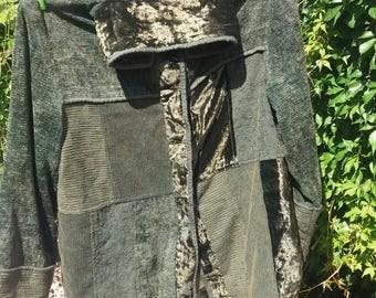 green velvet and chenille patchwork hippie jacket