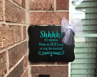 Do not ring doorbell, Nap time, Do not knock, door sign, baby sleeping sign, Baby shower gifts, Do not disturb, Sleeping baby, Privacy sign