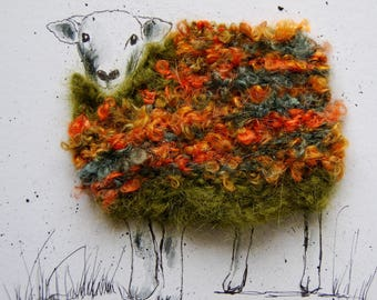 "Woolly sheep portrait ""Ted"".  Original, ink and wool"
