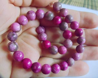 5 MAGENTA MULTICOLOR BEADS JASPER 8 MM.