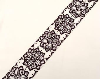 "Flower Ribbon   Lotus Flower Hair Bow   Color Your Own Ribbon   Hair Bow Ribbon   US Designer Ribbon   3"" Ribbon   Grosgrain Ribbon"