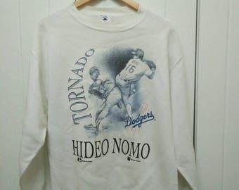 Rare Vintage Copyright 95' HIDEO NOMO Los Angeles Dodgers Legend Full Printed Sweatshirt Size M Medium Made in USA
