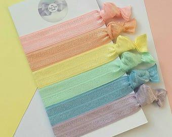 Pastel rainbow hair ties,foe,spring, easter gift, yoga ties,snag free, ponytail holders,fold over elastic,Uk seller
