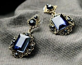 Victoriennes Biseaute glass nice blue earrings