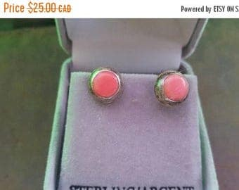 ON SALE Small Vintage Silver and Pink Stone Earrings