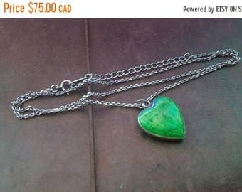 ON SALE Vintage Sterling Silver Necklace with Green Enamel Heart Pendant