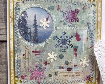 Winter scene mixed media greeting card