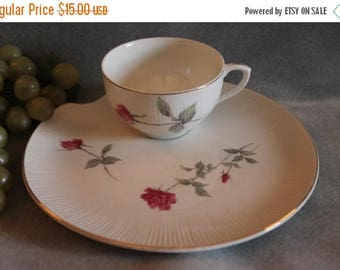 Christmas in July Sale Porcelain Snack Plate and Tea Cup Handpainted with Pink Roses and Gold Accents