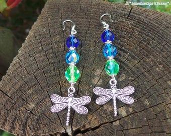 Silver Dragonfly Earrings, Bohemian Earrings, Crystal Earrings, Boho Earrings, Gypsy Earrings, Dragonfly Jewelry, Crystal Dragonfly Earrings