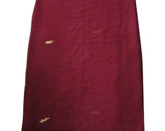 Georgette Fabric Indian Dupatta Craft Fabric Home Decor Long Stole Curtain Drape Embroidered Sewing Scarf Maroon Fabric Stole