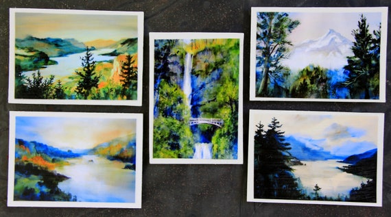 Columbia Gorge Magnets #4 - Bonnie White Watercolor magets - 5 signed magnets size 2 1/2x3 1/2