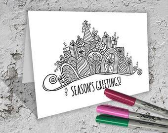 Season's Greetings Folded Card to Colour - Digital Download - Original Doodle Design